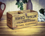 Hain & Co Fishing Fish Crab Medium Vintage Solid Wood Box