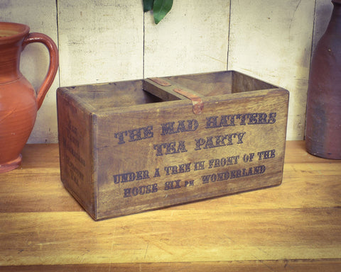 Alice in Wonderland Mad Hatters Tea Party Solid Wood Vintage Stadium Box