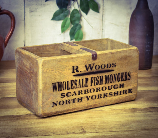 Medium Vintage Solid Wood Fish Mongers Box