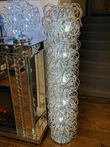 Large Swirl Mesh Tube Silver LED Floor Lamp
