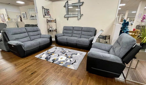 Michigan Charcoal Grey Fabric & Black Leather Look Electric Reclining Suite