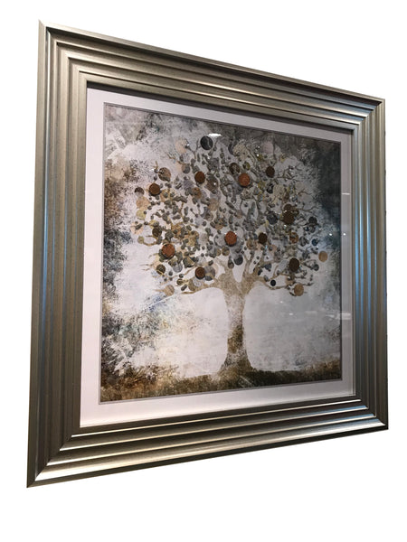 Square Copper Liquid Art Money Tree Wall Art (with real coins)