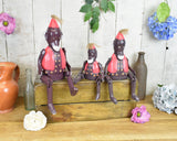 Hand Carved Set of 3 Circus Monkey Ornament