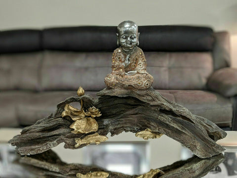 Peach & Silver Baby Monk Buddha on Log Ornament
