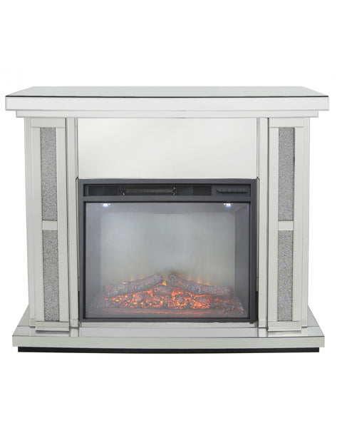 Crushed Diamante Mirrored Fire Place