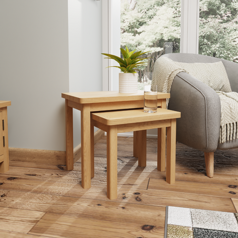 Oak & Hardwood Nest of 2 Tables