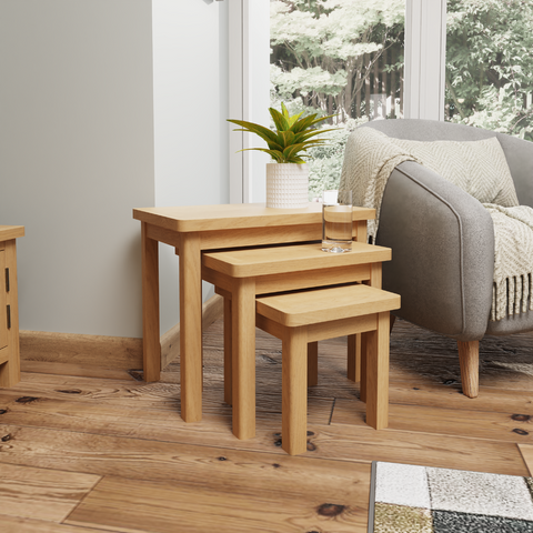 Oak & Hardwood Nest of 3 Tables