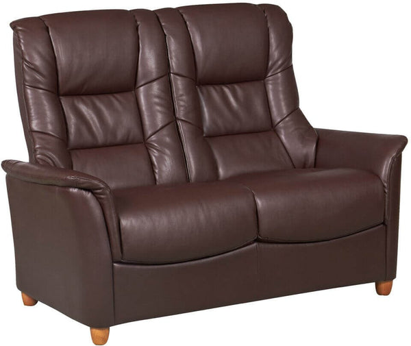 Shangri La Faux Leather 2 Seater Sofa - Nut Brown