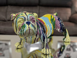 Multicolour Paint Splash Pop Art Ceramic Bulldog Ornament