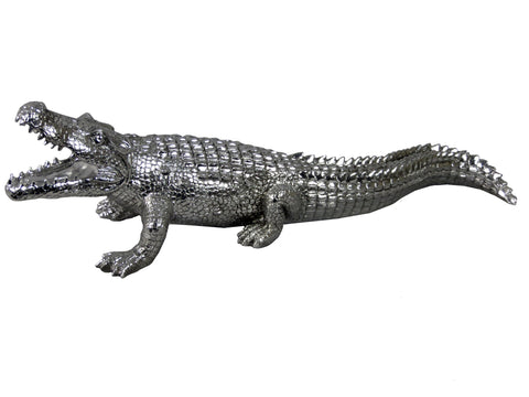 Silver Crocodile Ornament
