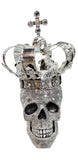 Silver Electroplated Fallen King with Crown Skull Ornament