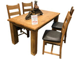Weathered Oak Small Fixed Top Dining Table