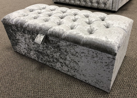 Crushed Velvet Diamante Embossed Ottoman Blanket Box