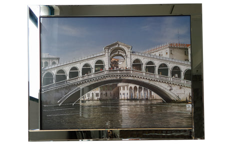 Liquid Art Mirror Frame Rialto Bridge Venice Wall Hanging Picture