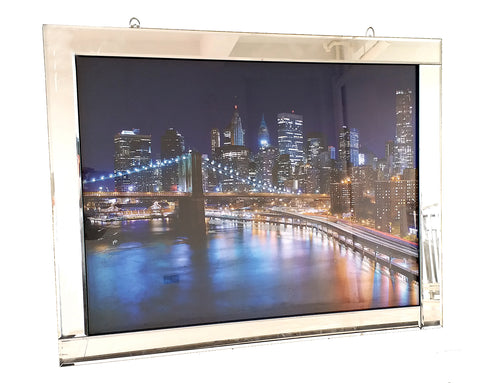 Liquid Art Mirror Frame Brooklyn Bridge & Manhattan Skyline at Night Wall Hanging Picture