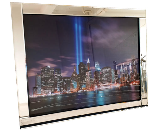 Liquid Art Mirror Frame New York Skyline & Twin Towers at Night Wall Hanging Picture