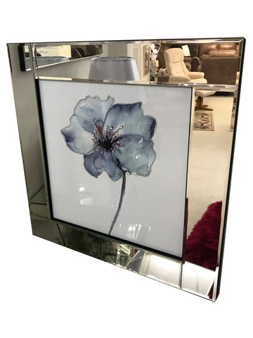 Liquid Art Mirror Frame Glitter Crystal Blue Flower Hanging Picture