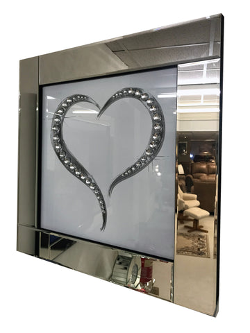 Liquid Art Mirror Frame Glitter Crystal Diamante Love Heart Hanging Picture