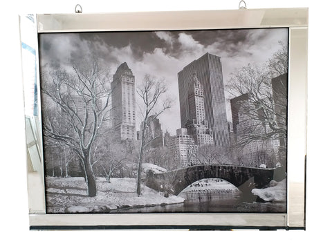 Liquid Art Mirror Frame Central Park New York Black & White Wall Hanging Picture