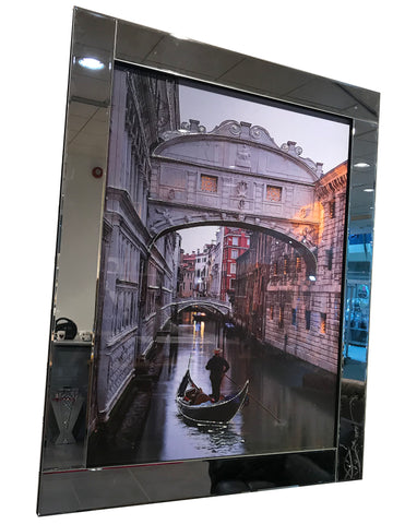 Liquid Art Mirror Frame Venice Gondola Wall Hanging Picture