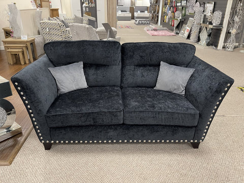 Perre Nickle Black & Silver Fabric 2 Seater Sofa