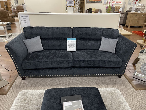 Perre Nickle Black & Silver Fabric 4 Seater Sofa