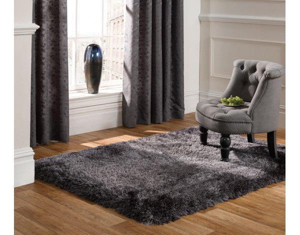 Pearl Dark Grey 7cm Thick Shag Pile Floor Rug