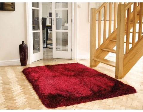 Pearl Raspberry Red 7cm Thick Shag Pile Floor Rug