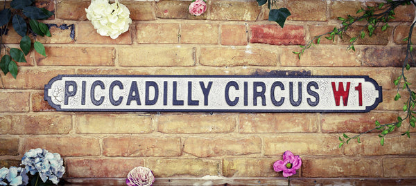Piccadilly Circus W1 Vintage Road Sign