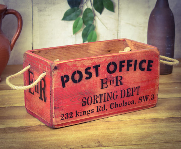 Vintage Wooden Solid Wood Red Painted Post Office Sorting Box