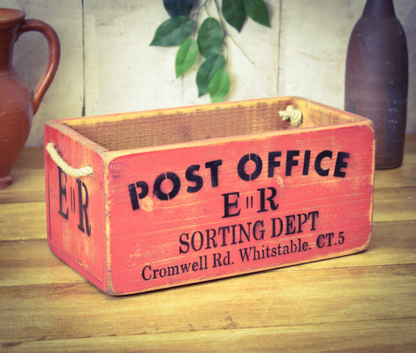 Post Office Medium Red Painted Solid Wood Sorting Box