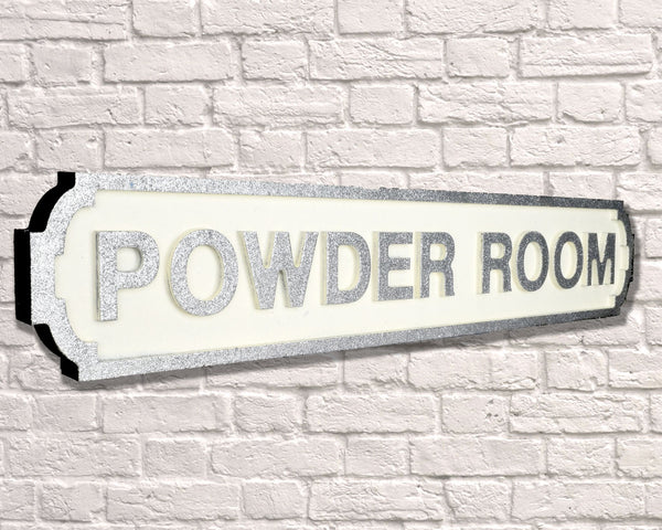 Powder Room Silver Road Sign