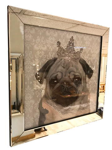 Pug with Glitter & Diamante Tiara Liquid Wall Art (Mirror Frame)