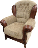 Queen Anne Brown Fabric and Leather 3 Seater 2 Seater Sofa Chair and Footstool