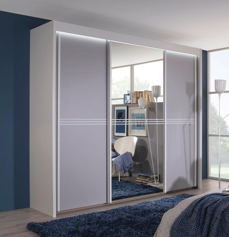 Ravenelli 3 Stripe Illuminated Mirrored Sliding Door Wardrobe - White or Grey