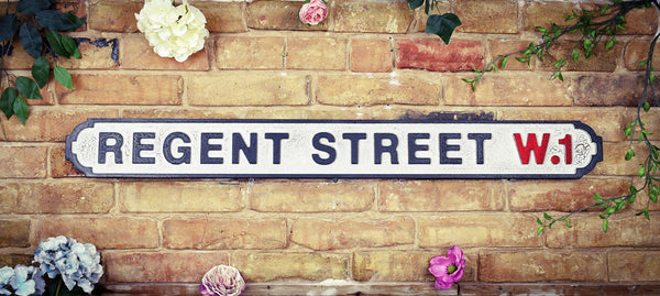 Regent Street W.1 Black White Vintage Retro Street Sign