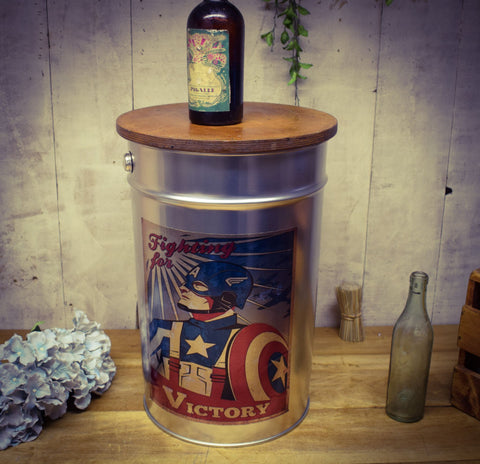 Brushed Silver Metal Captain America Inspired Storage Stool with Birch Lid