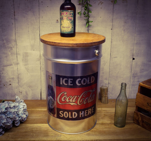 Brushed Silver Metal Storage Stool with Coca Cola Vintage Label and Birch Wood Lid