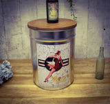 Memphis Bell Pin Up Girl Brushed Silver Metal Stool with Birch Lid