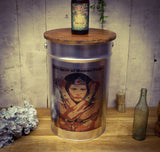 Wonder Woman Brushed Silver Metal Round Bar Stool with Birch Wood Lid