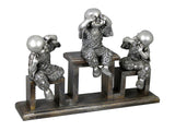 Silver 3 Monks on a Stand Ornament - See No Evil, Speak No Evil, Hear No Evil