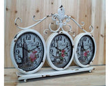 White Metal Shabby Chic 3 Oval Face Mantle Clock Featuring New York, London and Paris