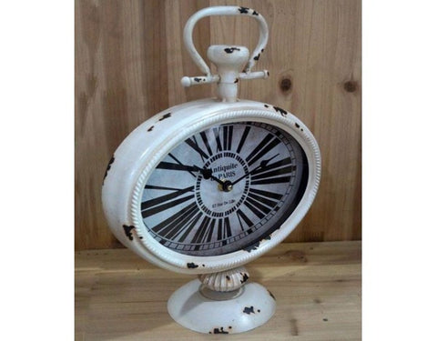 White Shabby Chic Oval Pocket Watch Style Paris Mantle Clock