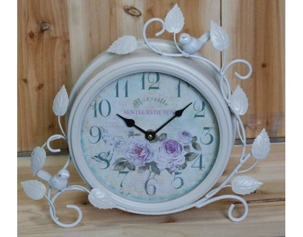White Metal Shabby Chic French Country Round Mantle Clock Decorated with Leaves and Birds