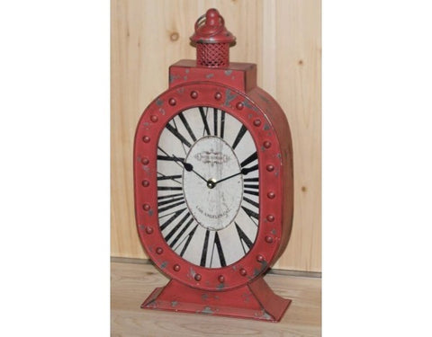 Red Shabby Chic Hotel Boulevard Lantern Mantle Clock