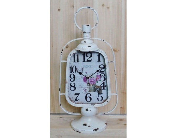 Shabby Chic White Skeleton Lantern Mantle Clock With Floral Design