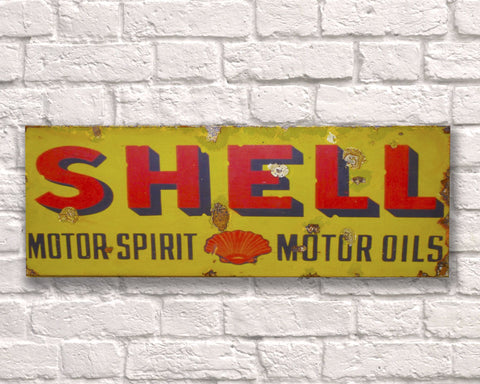 Shell Fuel Metal Vintage Road Sign