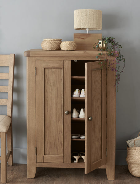 Warm Rustic Oak Effect Shoe Cupboard