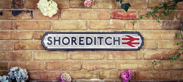 Shoreditch Vintage Retro Black White Crackle Railway Sign