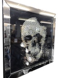 Large Black Mirrored Crystal Square Skull Mirror